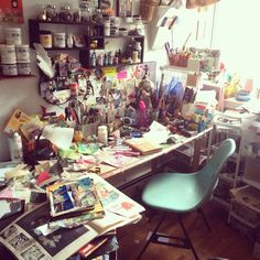 Think Process, Not Product : Photo, lol-this is how my art desk looks-I'm not al. - Think Process, Not Product : Photo, lol-this is how my art desk looks-I'm not alone :] - Deco Studio, My Art Studio, Studio Desk, Studio Furniture, Furniture Ideas, Inspiration Drawing, Creative Inspiration, Bedroom Inspiration, Bedroom Ideas
