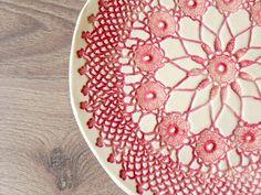 Rustic Ceramic Plate Red Lace Dessert Plate Unique by Ceraminic