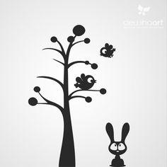 Boom vogels en konijntje