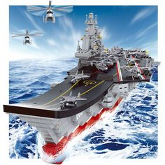 Sluban Aircraft Carrier Sets Compatible Lego Blocks Antisubmarine Helicopters Boy DIY Brick Fighter Planes Patrol Yachts