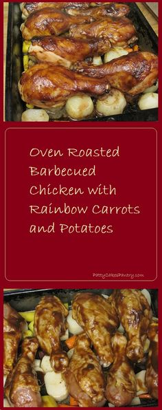 Oven Roasted Barbecued Chicken with Rainbow Carrots and Potatoes: A one pan meal. Serves 6 for a total Cost of $5.07 or $0.85 per serving.
