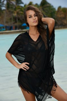 PilyQ Riveria Poncho || This sheer v-neck poncho is perfect companion to your next tropical vacay. A trendy asymmetrical hemline and fringe detailing add serious style while an optional tie at the waist lets you trim the look. @wala