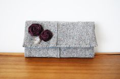 Upcycled Speckled Grey Wool Trifold Clutch by Singsthesparrow