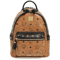 Women's MCM 'Mini Visetos' Studded Logo Print Backpack ($1,420) ❤ liked on Polyvore