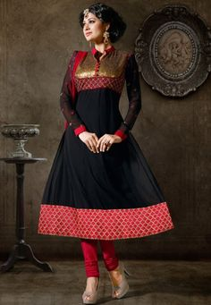 "Desginer Suit !""Black Georgette kameez designed with Zari,Resham Embriodery and Patch Patta Work  INR:-5650 With Exciting Discount 25% !"