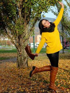 mostaza jersey, pilipiel pantalon, botas de caña alta #kissmylook