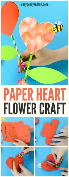 Lovely Paper Heart Flower Craft for Kids to Make