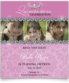 Sweet 16 or Quinceanera Save the Date Cards by miadanDesigns ...