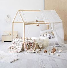 Sophia House Frame Floor Bed - Home - Yorgo Angelopoulos Retro Furniture, Kids Furniture, Furniture Decor, Montessori, Luxury Duvet Covers, Kids Room Design, House Beds, Cozy Bed, Bed Sets