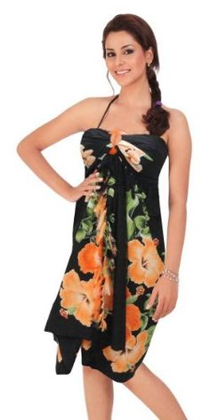1bf7cb6014c La Leela Hibiscus Floral Printed Beach Swim Hawaiian Sarong Cover up Black.  Amanda Hammons · Hawaiian fashion