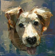 """Daily Paintworks - """"Pure Happiness - a white dog"""" - Original Fine Art for Sale - © adam deda"""
