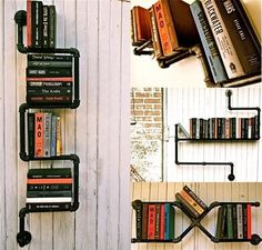 Industrial pipe shelving by Stella Bleu Designs