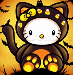Halloween Hello Kitty Cake Ideas and Designs Hello Kitty Drawing, Hello Kitty Art, Hello Kitty Tattoos, Hello Kitty Pictures, Hello Kitty Halloween, Sanrio, Hello Kitty Characters, Miss Kitty, Hello Kitty Wallpaper