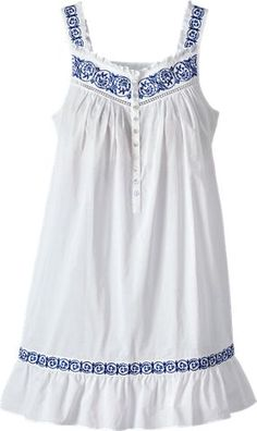 Eileen West Embroidered Chemise | Silky Cotton Nightgown