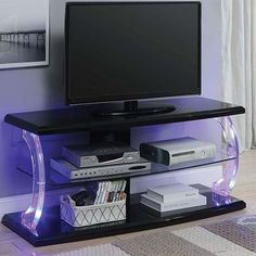 Latitude Run Veale TV Stand for TVs up to 55 inches Colour: Black Led Tv Stand, Tv Stand Set, Open Shelving, Adjustable Shelving, Tv Stand Wayfair, Colour Black, Color, Electric Fireplace, Wood Glass