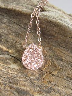 Rose Gold Druzy Necklace Titanium Drusy Quartz by julianneblumlo