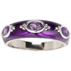 Sterling Silver Amethyst with Purple Enamel Women's Ring, Size 9