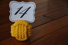 Items similar to Nautical Wedding - Rope Knots - Yellow Cotton Rope Knots - Nautical Wedding - Table Number Holder Knots - (this is per knot) on Etsy Wedding Table Number Holders, Wedding Table Numbers, Wedding Knot, Rope Knots, Seating Cards, Cotton Rope, Nautical Wedding, Yellow, Handmade
