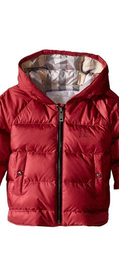 Burberry Kids Rilla Puffy Checked Hood Jacket (Infant/Toddler) (Peony Rose) Girl's Coat - Burberry Kids, Rilla Puffy Checked Hood Jacket (Infant/Toddler), 4022331, Apparel Top Coat, Coat, Top, Apparel, Clothes Clothing, Gift, - Street Fashion And Style Ideas