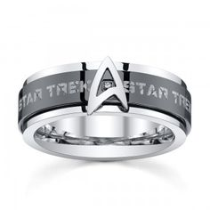 Take your wardrobe to another level at warp speed with the Star Trek Stainless Steel & Black IP Spinner Band.