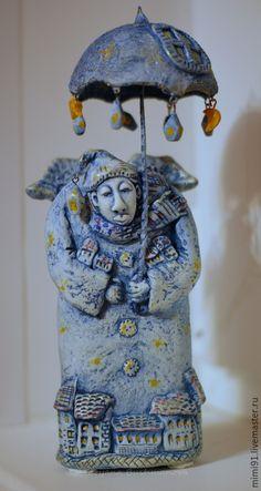 http://www.livemaster.ru/item/11042729-podarki-k-prazdnikam-zimnij-angel-hranitel Купить Зимний Ангел-хранитель - синий, ангел, Папье-маше, ангел-хранитель, статуэтка