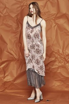 Luxurious silk rayon velvet burnout scattered with perfect paisley creates the most opulent and luxurious finish to this funky and feminine slip dress. It has delicate spaghetti straps and sheer panelling to the bust and dipped side hems to the mid length skirt. Pre Fall 2017 Size & Fit: Model is 177cm tall Model wears a NZ 8/ NZ S/ EU 36/ US 4 Wash Guide: Dry clean only. Select a high quality drycleaner. Gentle short cycle. Low moisture. Low temperature. Do not wring&#...