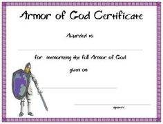 Church certificate archives free premium 123 certificate certificatetemplate armor of god certificate for your kids ministry yelopaper Choice Image