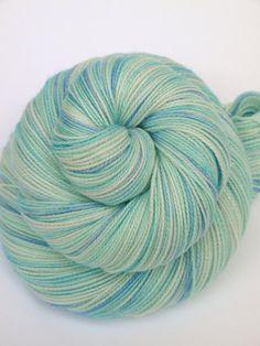 Hand Dyed Fingering/Sock Sparkle Yarn, Superwash Merino/Nylon/Stellina, Blue Bird