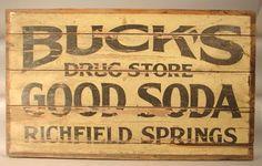 2280: Antique Wooden Advertising Sign. Buck's Drug : Lot 2280
