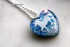 Blue resin heart pendant by isewcute on Etsy