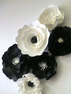 Paper Flower Wall Decor, Black and whtie wedding,  paper flower backdrop by PaperFlora