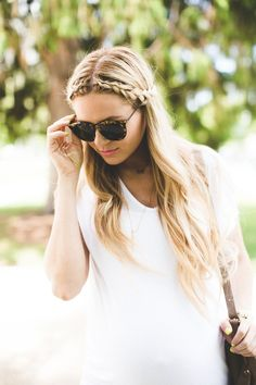 middle part headband braid with waves