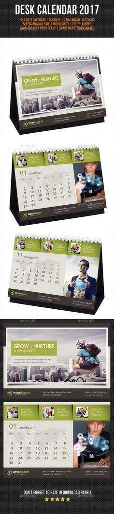 Corporate Desk Calendar 2017 V06  — PSD Template #office #color • Download ➝ https://graphicriver.net/item/corporate-desk-calendar-2017-v06/18080113?ref=pxcr