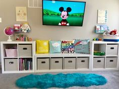 55 Clever Kids Bedroom Organization and Tips Ideas - Insidex.- 55 Clever Kids Bedroom Organization and Tips Ideas – Insidexterior - Kids Bedroom Organization, Kid Toy Storage, Playroom Organization, Cube Storage, Bedroom Storage, Bedroom Decor, Organized Playroom, Playroom Ideas, Organizing Toys