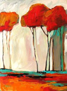 Tall Autumn Trees Abstract Huge Contemporary by patty a baker, $800.00