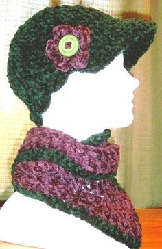 Handmade Newsboy Hat in Forest Green   Hand Crocheted Visor   Chenille Cap    Cloche   Beanie with brim 1ee344bdae92
