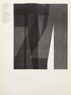 Use of 'Ruder Grotesk', a wood type designed during an evening class by Emil Ruder and students in the early fifties. It was never commercially produced and was used exclusively at the Basel school workshop.