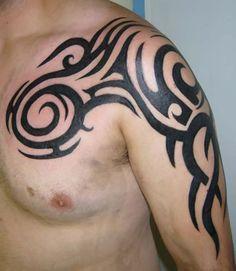 Shoulder Tribal Tattoo Design for Men