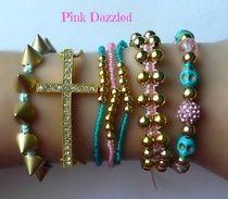 Cross and Skull 7 Piece Pink, Blue, Gold Arm Candy Bracelet Set