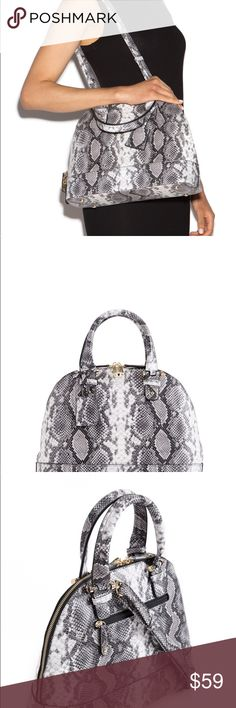 """NWT Gorgeous Snake-Skin Print Satchel Coming Soon!!! For your consideration is a beautiful brand new with tags faux snake-skin satchel. Featuring an interior zip pocket, accessory pouch and external pocket. With a removable crossbody strap, gold hardware and a full top zip closure. 5"""" Drop 13""""L x 11""""H x 5.5""""D Bags Satchels"""