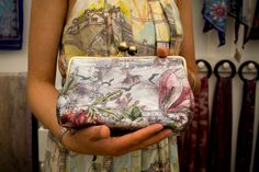 Claire Armitage shows us her digitally printed silk clutch bag.