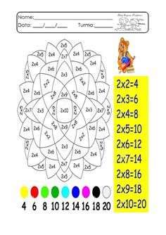 Espaço Professor: Multiplicação divertida. Atividades de multiplicação. Fatos da multiplicação Mickey Coloring Pages, Adult Coloring Pages, Multiplication Games, School Frame, Craft Activities, Kids And Parenting, Homeschool, Diagram, Classroom