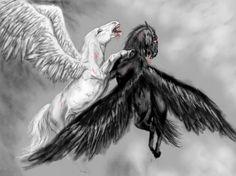 Black Fire Pegasus | Black Pegasus Drawing Pegasus of time by