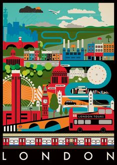 Vintage Poster from the London Transport Museum London Poster, London Art, London Icons, Old Poster, City Poster, London Illustration, London Transport Museum, Art Carte, London Tours