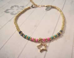 Gold & bright colour beads anklet/ankle bracelet with Star charm by NokoDesigns