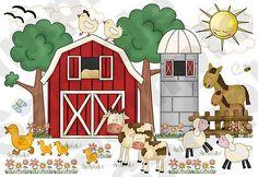 Farm Barnyard Animals Wall Mural Baby Nursery Kids Room Stickers Decals Decor   eBay