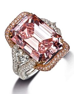 16.27 Carats, Internally Flawless Emerald Cut Pink Diamond Ring