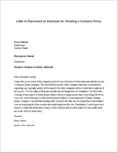 repremand letter