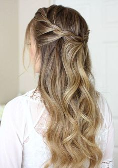 : 42 Gorgeous Wedding Hairstyles—half up half down wedding hairstyles waterfall curls and French Braid Hairstyles, Teen Hairstyles, Box Braids Hairstyles, Hairstyles 2018, Homecoming Hairstyles, Popular Hairstyles, Easy Elegant Hairstyles, Braided Hairstyles For Teens, Modern Hairstyles