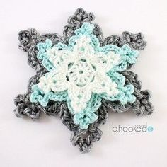 Holiday Snowflakes, free pattern and video tutorial byB.Hooked Crochet